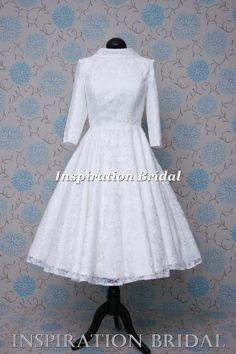 1593 dress maker short tea calf length wedding dress vintage urban collar made to measure any size