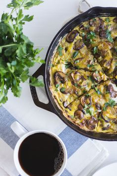 This Mushroom + Leek Frittata is perfect for brunch, or even dinner! It's also paleo, gluten free, dairy free, and Whole30 compliant! Find the recipe at sarahjhauser.com | Sarah J. Hauser #whole30 #brunch