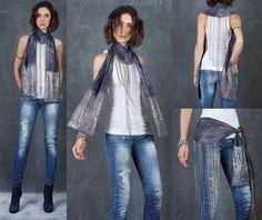 Cecilia De Bucourt Grey Tie Dye Studded Chain Fringe Scarf