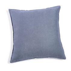 Kissen aus grobem Leinen, 45x45 cm, gewitterblau