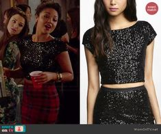 Beth's black sequin crop top on Chasing Life.  Outfit Details: http://wornontv.net/45522/ #ChasingLife