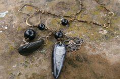 Black Amulet  fossil sea stone  14 inches long handmade  Bronze chain (29.00 USD) by Violetastorejewelry - handmade - jewelry - jewellery - artisan - etsy
