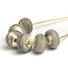 Grey Matt 'Clay' Lampwork Glass Bead Set - SRA Handmade Artisan Glass Beads - £14.50
