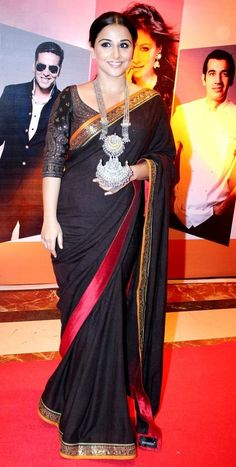 Vidya Balan in Black Zari Border Saree