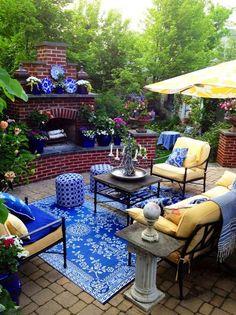 Enjoy outdoor living and create a relaxing atmosphere with very creative patio ideas. Imagine a backyard with an inviting patio on which to . Outdoor Rooms, Outdoor Gardens, Outdoor Living, Outdoor Furniture Sets, Outdoor Decor, Adirondack Furniture, Outdoor Patios, Blue Furniture, Outdoor Fire