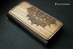 Mandala iPhone 6 Wallet Case Wooden Leather Wallet by WOODGRAWshop