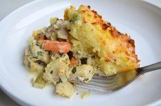 Placinta de peste cu piure de cartofi si legume