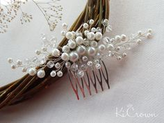 Bridal hair comb Pearl headpiece Pearls bridal headdress hair comb Crystal…