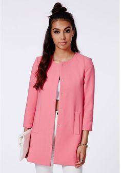 Missguided Fijata Pink A Line Coat on shopstyle.com