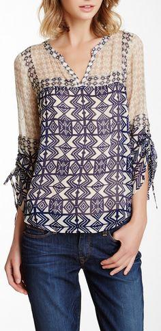 mixed print peasant blouse