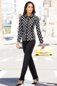 Patterned Pantsuit: The beautiful quality of the rich jacquard fabric gives this suit so much style. The solid seam details add shape. The tipped collar, front placket and pretty decorative buttons enhance this power suit even further. Straight leg pant with fly front and hook and bar closure.