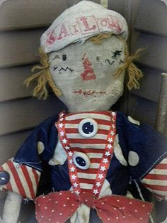 Primitive Patriotic USA Red White Blue Sailor July Raggedy Ann Doll MSO Pfatt | eBay