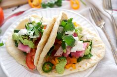 Ahi Tuna  Fish Tacos with Homemade Tortillas Nothing says Cinco de Mayo like a taco, and these ahi tuna tacos with homemade tortillas will blow your mind! You'll never want a regular ground beef taco again, I promise.  Nutritional information per taco: Calories: 297.5