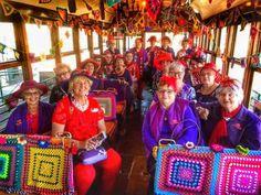 Crochet Train with the Red Hat Ladies........... #DIY #Handmade #Craft #Recycle #Repurpose #ReUse #Crochet Upcycled Textiles, Red Hat Ladies, Red Hats, Reuse, Repurposed, Recycling, Train, Crochet, Handmade