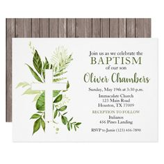 Rustic Greenery Green Cross Boy Baptism Invitation #baptism #boy #baptism #invitation #boy #Invitation