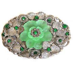 Green Camphor Glass Layered Floral Waist by AgedandOpulentJewels, $88.00