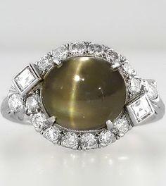 Rare Art Deco 4.83ct Chrysoberyl Cat's Eye & Diamond Ring Platinum