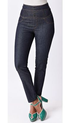 Retro Style Indigo Blue High Waisted Denim Pants