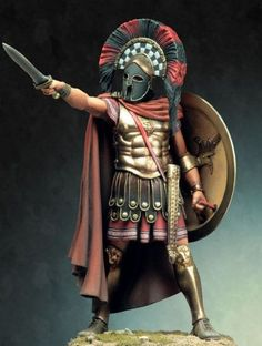 hoplite wearing a heroic cuirass and corinthian helmet, armed with a hoplon shield and a xiphos sword.Spartan hoplite wearing a heroic cuirass and corinthian helmet, armed with a hoplon shield and a xiphos sword. Fantasy Armor, Medieval Fantasy, Greek History, Ancient History, Ancient Rome, Ancient Greece, Corinthian Helmet, Roman Warriors, Greek Warrior