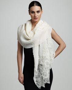Cashmere Plisse & Lace Shawl, Ivory by Valentino at Neiman Marcus.