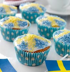 Bagan, Norway National Day, Sweden Flag, Cupcakes, Swedish Recipes, Fika, Birthday Celebration, Parfait, Deserts