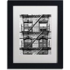 Trademark Fine Art Fire Escape Manhattan Canvas Art by Philippe Hugonnard, White Matte, Black Frame, Size: 16 x 20, Gray