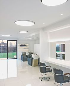 Recessed Downlights, Delta Light, Light Project, Working Area, All White, Track Lighting, Calming, Hairdresser, Ceiling Lights