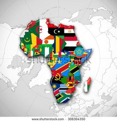 Africa map with flags africa map colored in with their flag vector africa flagsmaps continent and world map background gumiabroncs Image collections
