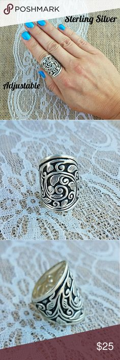🎁SALE Boho Sterling Silver Adjustable Ring 🎁I'm currently running an additional sale. See listing at the top of my closet for details.🎁  PRICE FIRM UNLESS BUNDLED!   This ring is new. It's solid sterling silver & adjustable. It would best adjust from sizes 8-10. You could overlap it more, down to a size 7. In the last pic, I'm wearing it on a size 8.25 finger. There's also an elephant ring similar, in my closet, if not sold.   This is handmade, so it's not perfect. Please look at the pics…