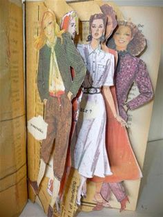Sandra Pearce: Altered Book Project--pattern pictures for paper dolls Kunstjournal Inspiration, Art Journal Inspiration, Art Journal Pages, Art Journals, Altered Book Art, Altered Books Pages, Altered Tins, Up Book, Handmade Books