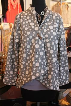 Try our new Polka Dot Swing Jacket! This is a fresh new look with the mix of grey and white, and a unique button detail! $84 S-XL