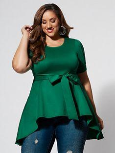Noelle High-Low Scuba Top - Fashion To Figure Plus Size Peplum, Plus Size Blouses, Plus Size Tops, Plus Size Dresses, Plus Size Outfits, Plus Size Clothing Stores, Plus Size Womens Clothing, Clothes For Women, Plus Sise