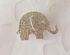 25 Silver Glitter Baby Elephant Die Cuts by tenderlovecardstock