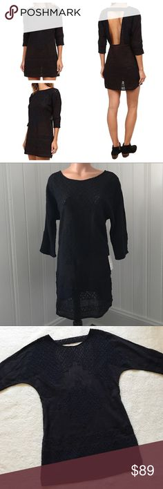Free People Black Desert Song Crochet Shift Dress Free People Black Desert Song Crochet Shift Dress S  Allover openwork lace embroidery and a daring exposed back build on the airy, laid-back style of a leggy shift dress fashioned from lightweight cotton. * Unlined * 100% cotton * Hand wash cold, line dry  Size - Small New with Tags  The color is black, but in certain light it has a navy look to it (in my opinion).  Approx Measurements: Bust - 40in Length - 33in Free People Dresses Mini