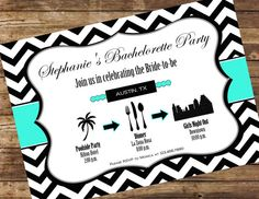 Printable Turquoise Chevron Bachelorette Invitation
