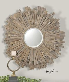 Buy Vermundo Rustic Driftwood Round Wall Mirror by Uttermost at Zin Home with discounted prices. Wide, wood frame with a light walnut stain with burnished details. Mirror is beveled. Circular Mirror, Round Wall Mirror, Round Mirrors, Mirror Mirror, Mirror Glass, Mirror Collage, Mirror House, Mirror Bedroom, Distressed Wood Mirror