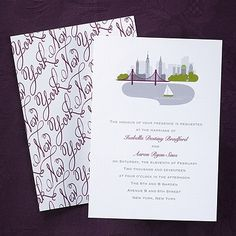 Cityscape New York Wedding Invitations #newyorkwedding #cityscapeweddinginvitations