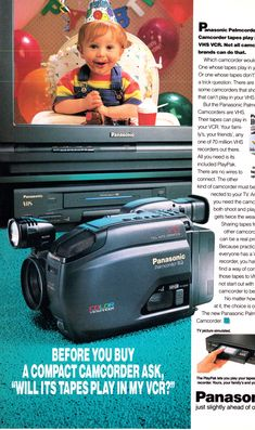1993 Panasonic product line up, possible '94 models of their camcorder Palmcorder IQ, TV, VCR and VHS video cassettes.  National Geographic, October 1993