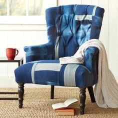 Seating - Indigo Skies Patchwork Chair: To create this unique blue kilim patchwork chair, a handcrafted mango wood frame is upholstered with a hand-woven cotton kilim .