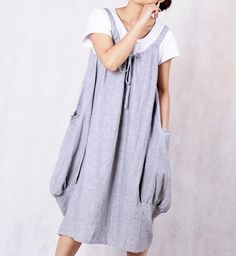 Leap of the heart/ Lovely Light gray linen dress by MaLieb on Etsy, $66.00