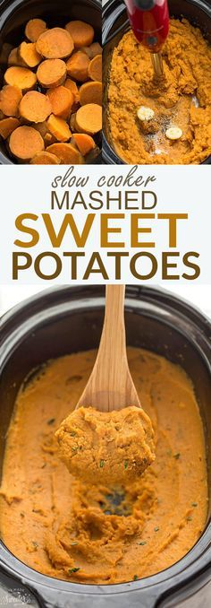 This super easy recipe for Slow Cooker Mashed Sweet Potatoes is the perfect easy side dish for Thanksgiving. They cook up super creamy all in your crock-pot! The best part about them is that there is no pre-boiling required and they're full of cozy fall flavors. #sweetpotato #sidedish #thanksgiving #fall #slowcooker #crockpot