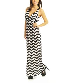 Black & White Zigzag Smocked Surplice Maxi Dress