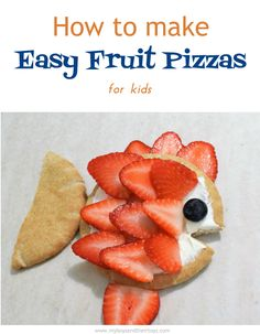 Today, I'm sharing a super simple snack for kids, that's healthy too! This recipe requires playing with your food, so kids will love it. Easy Fruit Pizzas tutorial. #recipe #fruit #healthy #snacks #forkids