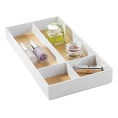 The Art Gallery mDesign Bathroom Drawer Organizer for Vanity to Hold Makeup Beauty Products Compartments WhiteLight Wood Finish