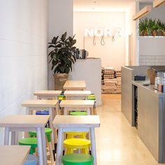 Nora Cafe #white #colour #cafe #Carlton Asian Interior Design, Modern Interior, Interior Architecture, Restaurant Design, Restaurant Bar, Carlton Melbourne, Game Cafe, The Neighbourhood, Cafe Idea
