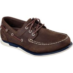 Skechers Men's Relaxed Fit: Eris - Sebos Brown - Skechers ($59) ❤ liked on Polyvore featuring men's fashion, men's shoes, men's loafers, brown, mens shoes, skechers mens shoes, mens topsiders, mens sperry topsiders and mens brown boat shoes