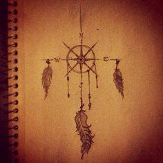 Pre sketch compass dream catcher