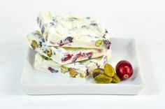 White Cranberry Pistachio Bark is made with dried organic cranberries, whole lightly salted pistachios and silky white chocolate.