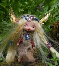 sweet 4 inches tiny fairy fairie posable ooak. $98.00, via Etsy.