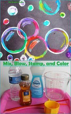 Bubbles Art Project Using Oil Pastels and Paint. Bubbles by Sir John Everett Millais: Art Appreciation Activity for Preschoolers.